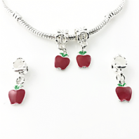 4 Enamel Hanging Charms Apple 8x22mm